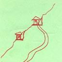 Schéma explicatif: les maisons à plat dans la montagne
